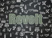 Political Concept: Chalk Green Text Revolt On School Board Background With  Hand Drawn Politics Icon poster