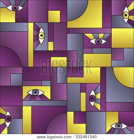 poster of Colorful Pattern With Eyes In Geometric Shapes Grid Mondrian Avant Garde Fashion Textile Print. Deco