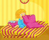 Illustration of recently woken girl - EPS VECTOR format also available in my portfolio.