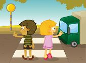 stock photo of street-walker  - Illustration of boy and girl crossing the street  - JPG
