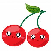 Fruit Characters. Cute Cartoon Kawaii Cherry Character. Vector Isolated Image Of A Cherry, Fruit. Sw poster