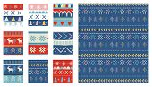 Seamless Christmas Patterns. Vector Design In Nordic Style poster