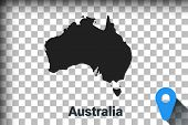 Map Of Australia, Black Map On A Transparent Background. Alpha Channel Transparency Simulation In Pn poster