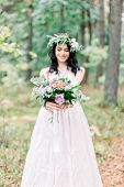 Beautiful Smiling Bride Brunette Young Woman In The White Dress With Wedding Bouquet, Close Up Portr poster