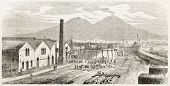 Gas factory inauguration in Naples, Italy (Vesuvius volcano in background). Created by Rouargue, published on L'Illustration, Journal Universel, Paris, 1863