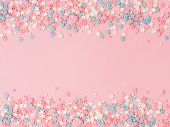 Festive Border Frame Of Colorful Pastel Sprinkles On Pink Background With Copy Space In Center. Suga poster