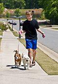 Boy Walking Dogs