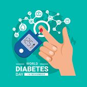 World Diabetes Day Banner With Hand Blood Are Glucose Testing And Circle Icon Medical Are Connect Li poster