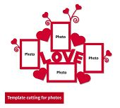 Laser Cutting Template For Photos. Collection Of Frames For A Family Photography. Collage Design Wit poster