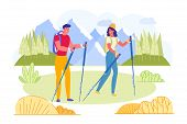 Bright Poster Young Couple Engaged Nordic Walking. Man And Woman Are Wearing Sportswear And Are Hold poster