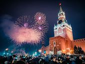 New Years Eve In Moscow. Fireworks On Red Square Near The Spasskaya Tower On New Years Eve. Multicol poster