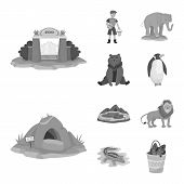 Vector Illustration Of Zoo And Park Symbol. Collection Of Zoo And Animal Stock Symbol For Web. poster