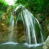 The Well-Known Beautiful Waterfall Djur-Djur  In Forest, Crimea, Ukraine poster