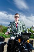 foto of sidecar  - Classy guy on a motorcycle with a sidecar - JPG