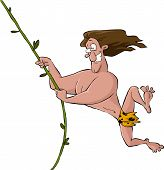 stock photo of tarzan  - Tarzan swinging on a vine vector illustration - JPG