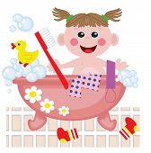 Girl showering in bath, vector.