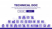 Technical Documentation Thin Line Icons Set Vector. Collection Of Technical Documentation Linear Pic poster