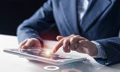 Digital Technologies In Modern Business Concept. Businessman Hands Using Tablet Computer. Virtual In poster