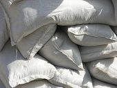 Pile of white sacks