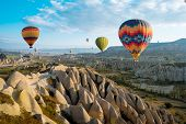 Great Tourist Attraction Of Cappadocia Balloon Flight. Cappadocia Is One Of The Best Places To Fly W poster