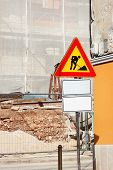 Road Construction Work And Sign At A Construction Site. Warning Sign Under Construction. Road Works  poster