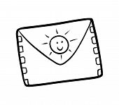 Coloring Book For Children, Cartoon Colorless Envelope poster