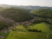 Aerial View To Village In Bukk Mountains National Park, Hungary poster