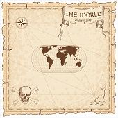 World Treasure Map. Pirate Navigation Atlas. Herbert Hufnages Pseudocylindrical Equal-area Projecti poster
