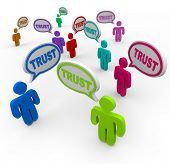 Many people of different colors say the word Trust in speech bubbles to symbolize faith, loyalty and