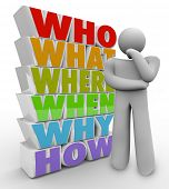 A thinking person stands beside many questions who, what, where, when, why and how to ponder the mys