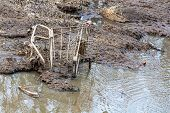 A Metal Shopping Cart Is Tipped Over In The Mud At The Edge Of A River. The Discarded Basket Is Part poster