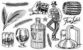 Whiskey Set. Glass Bottle, Wooden Barrel, Scotch And Bourbon, Wheat And Rye, Victorian Man, Cheers T poster
