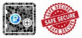 Mosaic Rouble Bank Safe And Distressed Stamp Seal With Safe Secure Caption. Mosaic Vector Is Formed  poster
