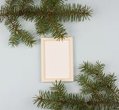Wooden Frame For Painting Or Picture On White Background. Gold Frame Photo Isolated. Gold Frame On W poster