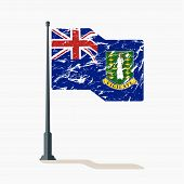 British Virgin Islands Flag With Scratches, Vector Flag Of British Virgin Islands Waving On Flagpole poster