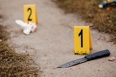 Crime Scene Investigation, Bloody Knife With Crime Markers On The Ground, Evidence Of Murder. poster