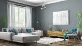Modern Interior Design Of Scandinavian Apartment, Living Room With Grey Sofa, Sideboard And White Ar poster