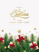 Merry Christmas And Happy New Year Design For Greeting Card, Poster Or Banner In Modern Minimalist S poster