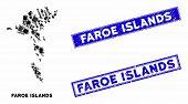 Mosaic Faroe Islands Map And Rectangular Seal Stamps. Flat Vector Faroe Islands Map Mosaic Of Random poster