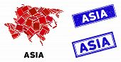 Mosaic Asia Map And Rectangle Seal Stamps. Flat Vector Asia Map Mosaic Of Scattered Rotated Rectangl poster