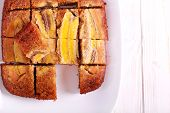 Banana Upside Down Cake, Sliced On Plate poster