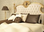 Luxurious Bed With Pillows And Standing Lamp In Royal Interior