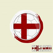 Flag Of England, Football Championship Banner, Vector Illustration Of Abstract Soccer Ball With Engl poster