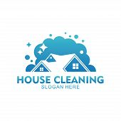Home Apartment Cleaning And Washing Service Vector Logo Design poster