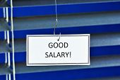 A Good Salary, On The Hook Of The Office. Hook Tool For Bait And Catch Prey. A Good Salary Is A Sign poster