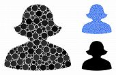 Female Composition Of Round Dots In Various Sizes And Shades, Based On Female Icon. Vector Round Dot poster