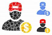 Guy Salary Mosaic Of Round Dots In Different Sizes And Color Tinges, Based On Guy Salary Icon. Vecto poster