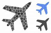 Airplane Composition Of Small Circles In Different Sizes And Color Tones, Based On Airplane Icon. Ve poster