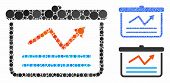 Chart Mosaic Of Small Circles In Various Sizes And Color Tints, Based On Chart Icon. Vector Small Ci poster
