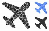 Airplane Mosaic Of Small Circles In Variable Sizes And Color Tints, Based On Airplane Icon. Vector S poster